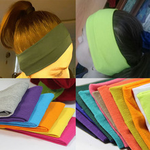 Fashion simple style headwear lady cotton absorb sweat yoga elastic headband popular women candy color sport hair band headband