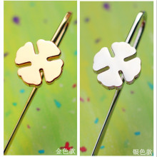 Free shipping gold silver bookmark Acme brief the lucky four leaf clover limited edition business gift bookmark