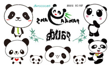 EC107 New 2016 Cartoon Cute Emotion Chinese Panda Temporary Tattoo Sticker Body Art Water Transfer Fake Flash Taty