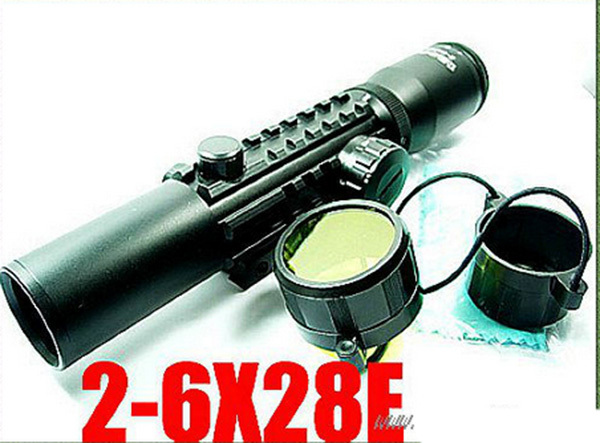 caza Free shipping Tactical 2-6X28E Rifle Scope with Mil-Dot Mounting Rail hunting scopes<br><br>Aliexpress