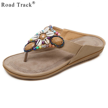 Road Track Shoes Woman Slippers Flip Flops Fashion Beach Lady Slippers Casual Boho Flat Heel Thong Sandals Plus Size XWA0943-5(China)