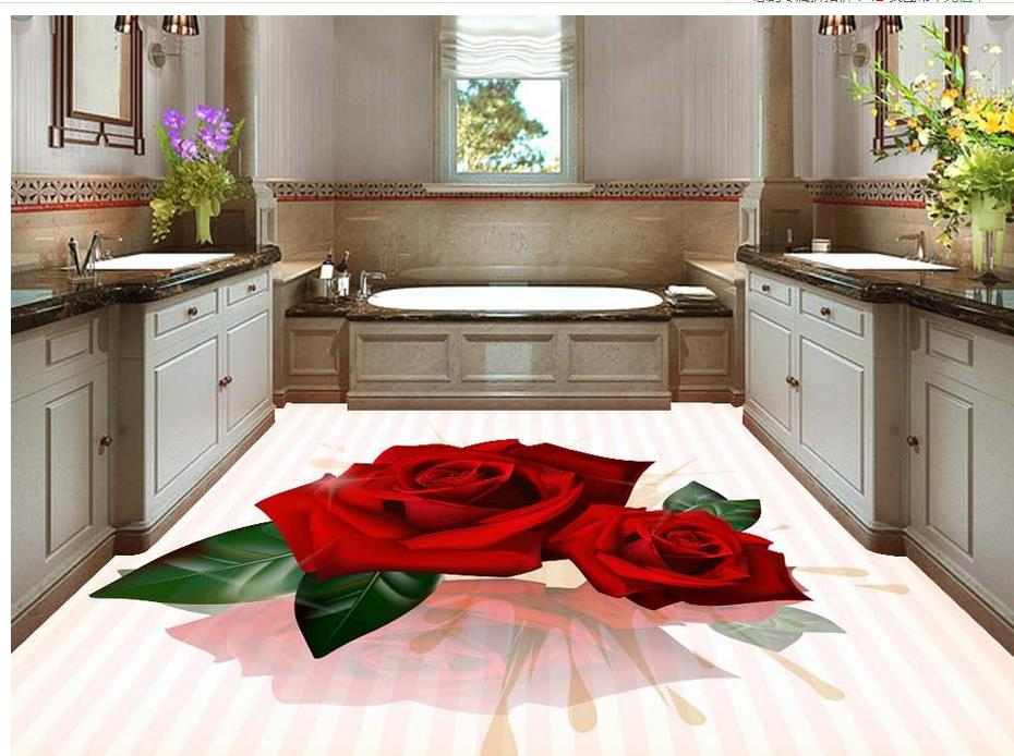Home Decoration 3D stereoscopic rose floor pvc self-adhesive wallpaper floor wallpaper 3d for bathrooms<br>