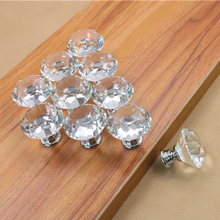 5PCS 30mm Clear Crystal Glass Diamond Door Handles Kitchen Home Cabinet Cupboard Wardrobe Knobs Drawer Handles Hardware(China)