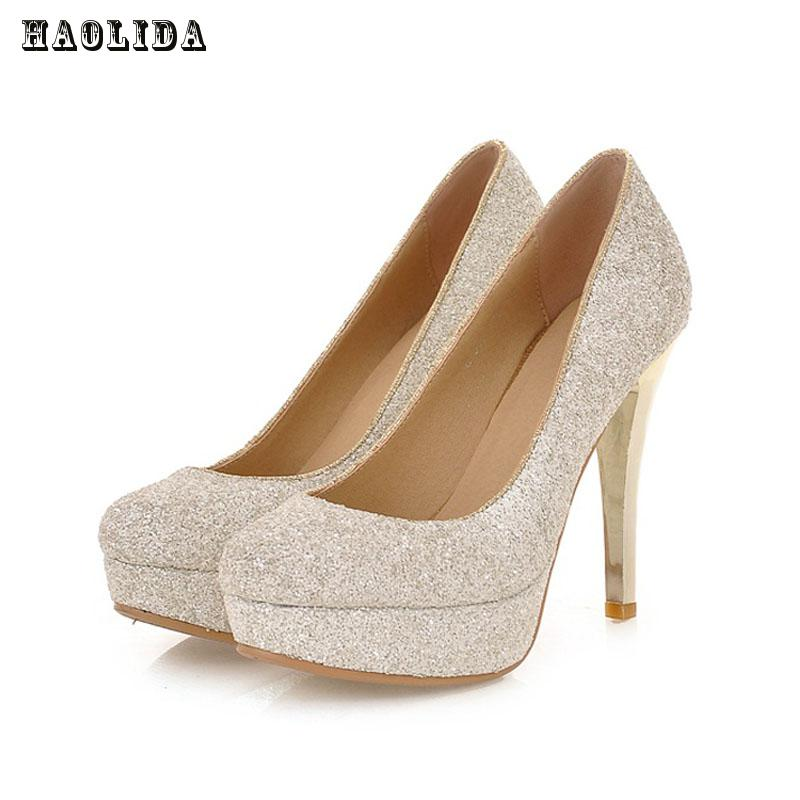 2017 Glittering Fashion sexy party high heel summer women Pumps Wedding shoes lady Pump spool heels black white gold plus size<br>