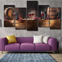 Jermyn HD Printed 5 piece Canvas Art Grape Red Wine Glasses Oak Barrels Painting On Canvas Wall Pictures For Living Room(China)