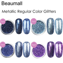 2.5g/pot, 0.2mm (1/128 008) Metallic Regular Color Glitters Acrylic Dazzling Glitters Dusts For Nail ,Tatto Art Decorations(China)