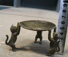 Free Shipping>>Three kitty old china bronze light Marvellous statue(China)