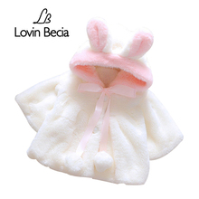 LovinBecia Baby Girl Cute Rabbit ears Hooded Coats Baby Infant Fur Winter keep Warm Coat Cloak Girls Jacket Thick Warm Clothes(China)