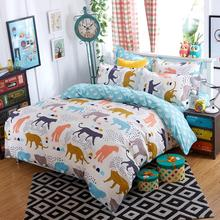 Morden bedding set 4pcs bedding housse de couette AB side bed sheet panther duvet cover set bed linens lemon fashion bed set