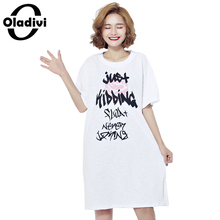 Buy Oladivi Brand Women Clothing 2017 Summer New Fashion Letter Printing Ladies Long Tops Short Dress Casual Female Tees Shirt Tunic for $20.52 in AliExpress store