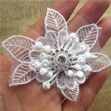 5pcs Soluble Diamond Flower Stamen Embroidered Lace Trim Applique Fabric Lace Ribbon DIY Sewing Craft For Costume Hat Decoration(China)