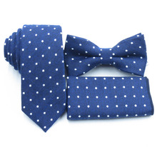 light Navy blue ties, white polka dot bow tie pocket towel, boutique cotton necktie, deep blue men's bow tie(China)