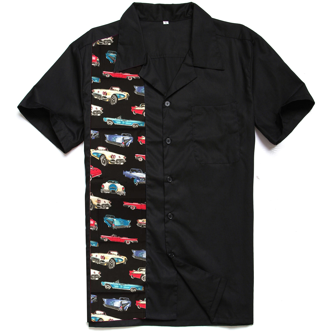 2 018 Men Fashion New Designs Classic Cars Printing Panel Casual Tops Cotton Rockabilly 40s 50s Vintage Work Shirts