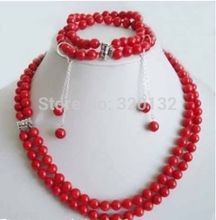 Hot selling> Nobility jewelry bridal Style set 2 rows 7-8mm red coral necklace bracelet earring Wholesale  Jewelr -Br