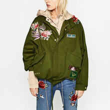 Stylish ZA Roses Floral Animal Pattern Embroidered Rivet Patch Designs Jacket Military Army Green Trendy Women Coat Outwear Tops
