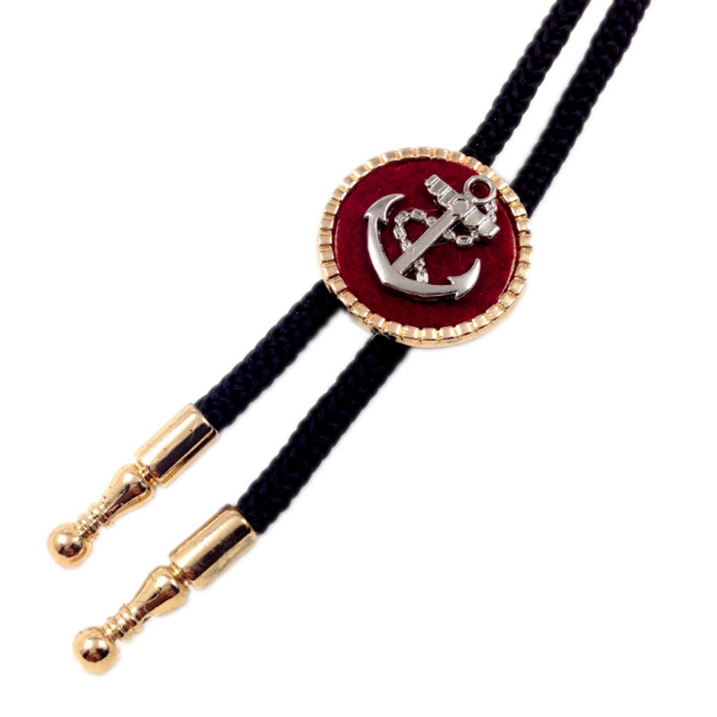 2017 new punk men jewelry statement necklaces & pendants,black rope anchor bolo tie long necklace women accessories collares(China)