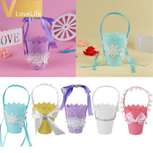 One Plastic Flower Pot Wedding Favors And Gifts Basket Storage Container Hanging flower Plant Pot For Wedding Home Supplies(China)