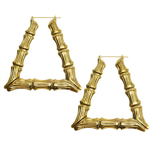Fashion Fancy Punk Hip-hop Style Gold Bamboo Trapezoid Large Exaggerated Earrings
