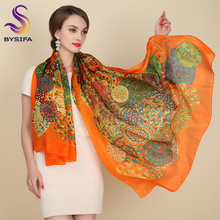 Ultralarge Spring Autumn Silk Scarf Wraps Hot Sale Female Long Scarf Cape Fashion New Design Orange Mulberry Silk Scarf Muffler(China)