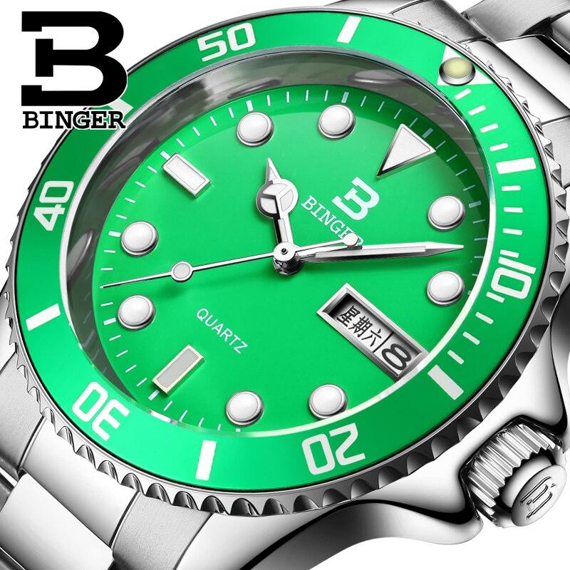 Switzerland luxury mens watch BINGER brand quartz full stainless fashional luminous clock one year guaratee B9203M-6<br>