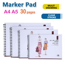 A4A5 sketch book Marker Pad Supplies 30 Sheets Marker Book Student Coloring Design Notebook Set for Sketch Cute Draw book School(China)