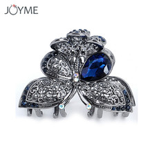 Joyme Wedding Hair Accessories Butterfly Crab Clip Crystal Flower Metal Hair Claws Vintage Princess Hair Jewelry Bride Headdress(China)