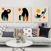 Popigist Simple Abstract Animal And Child Illustration Canvas Painting Art Print Picture Wall Baby Child Room Home Decoration(China)