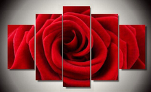 Painted Red Rose Oil Painting Reproductions 5 Piece Abstract Canvas Art Almond Flower Picture Modern Wall Decor