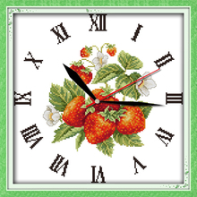Innovation items needlework kit DIY home decoration counted cross stitch kit clock embroidery set - Red strawberries
