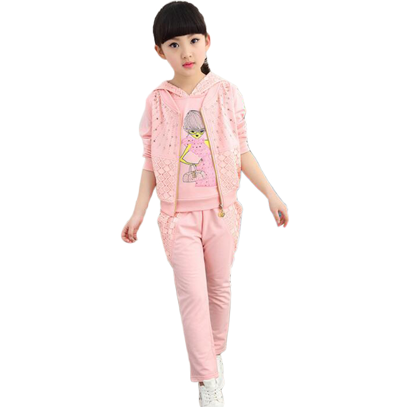 Costume For Girls With Hooded Hat  Ropa De Ninas Fall and Winter Sets Of Long Sleeve Coat Three - piece Tracksuit Kids<br><br>Aliexpress