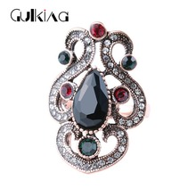 Gukin Vintage Turkish Jewelry Lace Rings For Women party jewelry accessories Female Finger Ring Retro Gold Inlaid Resin Ring
