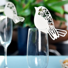 50pcs Laser Cut Ivory Love Bird Wine Glass Table Mark Laser Cut Design Paper Name Place Cards For Party Wedding Place