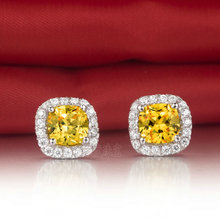 Excellent Design 3CT/Piece Cushion Style Earrings Yellow Simulate Diamond Solid 18K White Gold Earrings Stud For Women Wedding(China)