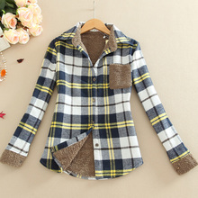 2016 New Winter Women Shirt Plus Thick Velvet Long-Sleeve Outerwear Cotton Slim Women Plaid Shirt Clothing Bottoming Warm Shirt