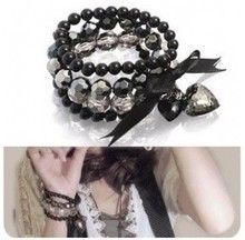 Min. order $9(can mix different goods) Black Peach Heart Bowknot Beaded Ribbon Multi-layer Bracelet Jewelry Women