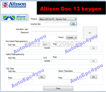 DHL free shipping New 100% Universal Allison DOC 13 PC 13 software + unlocked keygen INSTALL UNLIMITED COMPUTER
