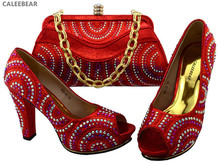 Sexy shinning Red african italian bag shoes set for wedding party evening dresses with plenty rhinestones,Spike high heels