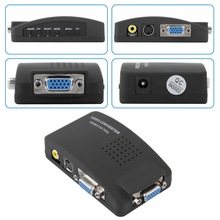 High Resolution Digital AV/S-video to VGA TV Signal Converter Adapter Switch Conversion for PC Notebook