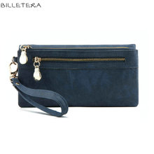 BILLETERA High Capacity Fashion Women Wallets Long PU Leather Wallet Female Double Zipper Clutch Coin Purse Ladies Wristlet(China)