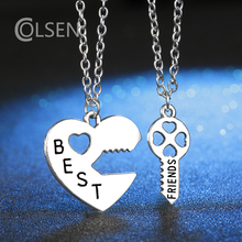 COLSEN new heart-shaped & key personalized design jewelry letters BEST FRIENDS female & girl fashion pendant friendship necklace(China)
