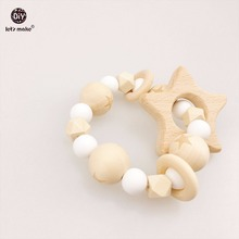Let's Make Baby Nursing Star Bracelet Wooden Teether Beads DIY Jewelry Teething Silicone Beads Pram toy Bracelets Baby Rattle(China)