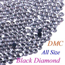 All Size! Black Diamond, DMC Quality Hotfix Rhinestone Glass Crystals Stones Hot Fix Iron-On FlatBack Rhinestones With Glue