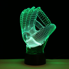 Colorful Baseball Gloves Visual Illusion Night Light Color Change LED Table Lamp Decoration(China)