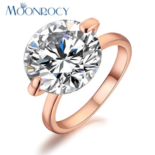 MOONROCY Free Shipping Jewelry Ross gold Color Zirconia Stone Austrian Crystal Rings,Wedding Ring for women Gift