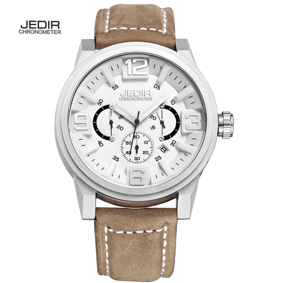 Relogio Masculino JEDIR Chronograph Function Mens Watches Genuine Leather Luxury Mens Brand Military Wristwatches reloj hombre<br><br>Aliexpress