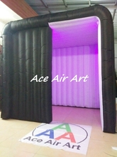 rental black cabin tent inflatable photo booth with led light for advertising
