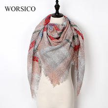 Winter Scarf Women Scarf Plaid Cashmere Scarves Women Triangle Pashmina Shawls Blanket Bandage Bufanda Wholesale 140*140*210CM