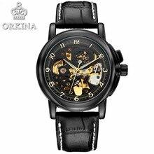 ef3d6ee2682 ORKINA Mens Relógios Top Marca de Luxo Relógio Automático de Esqueleto  Relógio de Pulso Mecânico para