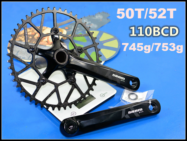 Road Bike Crank arm 170mm Crankset Narrow Wide single Chainring 50//52//54//56//58T