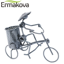 ERMAKOVA Metal Crafts Bicycle Model Retro Bike Model Statue Pencil Cup Antique Bicycle Pen Container Holder Home Office Decor(China)